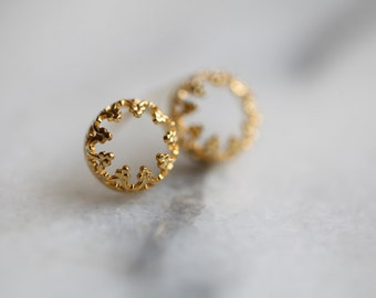 READY TO SHIP. Crown vermeil studs- silver and gold earrings. Gold plated posts, vermeil earrings