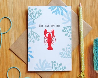Lobster Card 'The One for Me' Romantic Illustrated Card