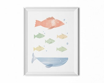 Marine animals print, fish wall art, children's room art, children's art, nursery wall decor, watercolor art, minimal art, kitchen wall art