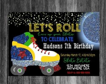 Free Roller Skating Birthday Party Invitations ~ Roller skate invitation skating party neon skate disco