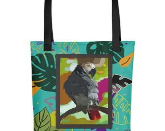 Jungle Jewel/Original Digital Artwork- African Grey Parrot- Travel/Tote bag