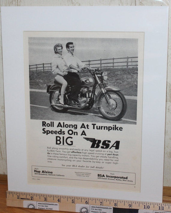 "1960 BSA ""Roll Along at Turnpike Speeds"" 11"" x 14"" Matted Vintage Motorcycle Ad Art #6005amot09m"