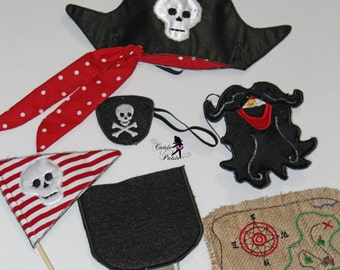 Pirate Play Set, Pirate Birthday Outfit, Pirate Halloween Costume, Pirate Play Set, Felt Play Set
