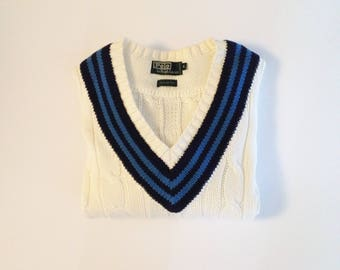 cable knit sweater vintage polo tennis sweater white v neck sweater cotton pullover college ralph lauren
