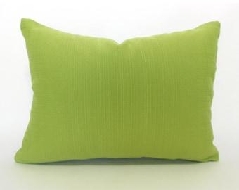 Kiwi Green Outdoor Lumbar Pillow Cover ANY SIZE Decorative Pillows Green Pillow Richloom Forsythe Kiwi