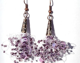 Purple Earrings, Plum Jewelry, Seed bead Handmade, Drop Earrings, Unique Jewellery, Dangle Earrings, Lavender earrings, Purple Weddings
