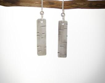 Birch Bark patterned sterling silver dangle earrings small