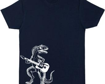 Dinosaur Playing Guitar T-Shirt Men's Cotton Short Sleeve Crew Neck Shirt Guitar Shirt Guitar Tshirt Guitar Tee Guitarist T-Shirt SP SEEMBO