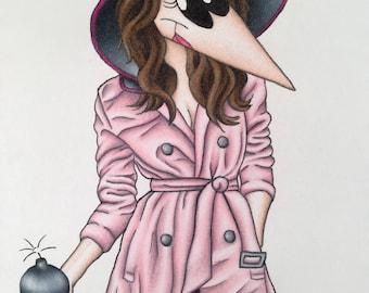 Girly Spy Art Print Fashion Cartoon Character 8x10