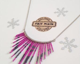 Necklace, miyuki delicas beads, bib, stainless steel, woman