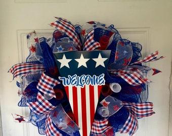 Patriotic Wreath/Front Door Wreath/Welcome Wreath/Summer Wreath/Americana/Deco Mesh Wreath