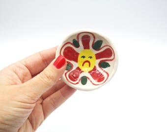 Red Flower Ceramic Ring Dish
