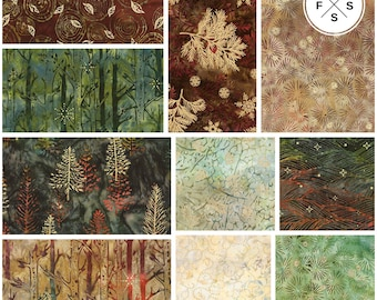 "Pre-Order Lunn Studios Northwoods Batiks Forest Precut 5"" Charm Pack Metallic Fabric Quilting Cotton Squares Robert Kaufman CHS-676-42"
