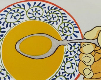 Woodblock Print: Soup Spoon