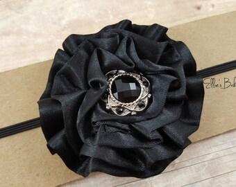 Black Baby Headband/ Black Headband/ Black Headband for Baby/ Black Flower Headband/ Black Headband Baby/ Black Infant Headband