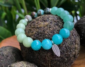 Green Bracelet, Heart Chakra, Green Aventurine, Moss Green Jade, Throat Chakra, Amazonite, Turquoise, Healing Bracelet, Energy Bracelet.