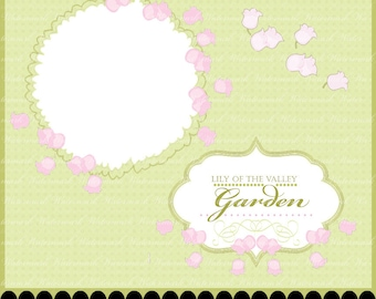 Frame clip art digital flower scrapbooking photography clipart lily of valley embellish : c0257 px301