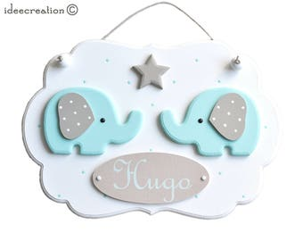 Deco elephants nursery (without the Garland) wooden frame