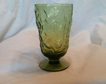 On Sale 1970s Avocado Green Textured  Glass  Wine Goblet or Water Glass