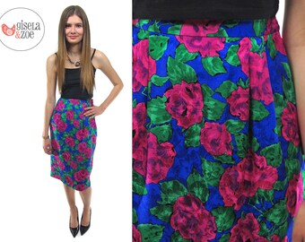80s Silk Floral High-Waist Pencil Skirt ΔΔ Vintage Abstract Rose Print Skirt ΔΔ sm / md