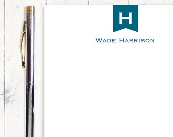 personalized notePAD - BANNER MONOGRAM - stationery - stationary - business notepad - choose color