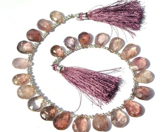 8 Inches 22Pcs New Arrival Natural Moss Amethyst Faceted Pear Briolette Size 13x9 - 15x10mm approx Semiprecious Beads, Gemstone Briolette