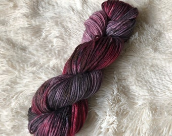 """Hand-Dyed """"Wine Knot"""" 100% worsted weight Peruvian Highland Wool MombieLand yarn"""