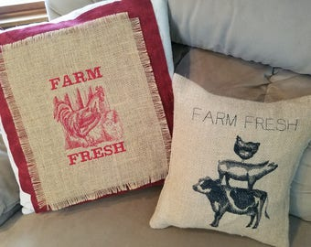 Throw pillows with burlap and embroidery , size 18 x 18