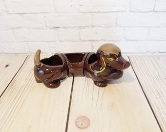 Vintage Three Piece Dachshund Dog Planter