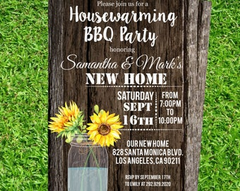 New Home Invitation Printable Wood Invitations Sunflower Mason Jar Home Printable Moving Announcement We moved cards #DPI34898