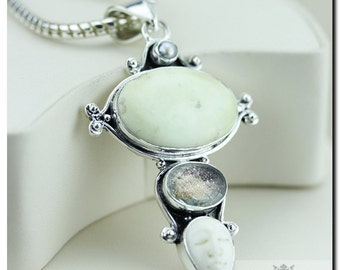 Goddess Face CHRYSOPRASE Sunstone 925 Solid Sterling Silver Pendant + 4mm Snake Chain & FREE Worldwide Shipping P2038