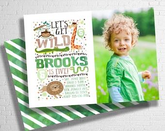 Zoo Birthday Invitation | Zoo Animal Birthday Invite | Safari Birthday Invitation | Let's Get Wild | Animal Birthday  | DIGITAL FILE ONLY