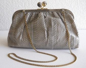 vintage bag, snakeskin clutch, 1980s