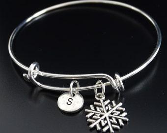 Snowflake Bangle Bracelet, Adjustable Expandable Bangle Bracelet, Snowflake Charm, Snowflake Pendant, Snowflake Jewelry, Winter Jewelry