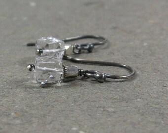 Crystal Quartz Earrings Petite Geometric Jewelry Clear Gemstone Cube Oxidized Sterling Silver Tiny Earrings