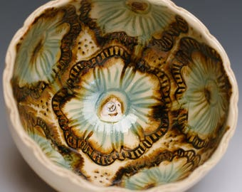Floral Handmade Pottery Bowl by Audry Deal-McEver