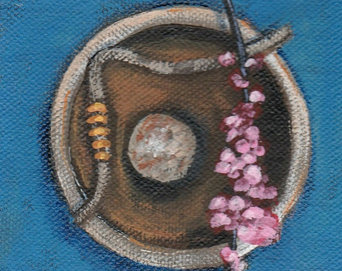 Holiday SALE Zen painting of a wooden bowl