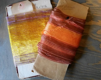 Two Pieces of Vintage Florist Ribbon from Funeral Flowers,Wide Mesh Floral Ribbon