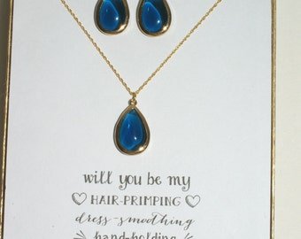Navy Blue Necklace and Earrings Set Gold, Bridesmaid Gold Necklace Earrings Set, Bridesmaid Blue Jewelry, Wedding Gift, Bridesmaid Gift, MP1