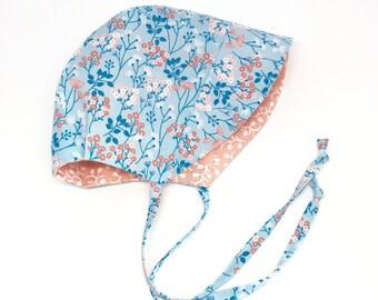 Easter Bonnet // Spring Bonnet // Floral // Baby Bonnet // Light Blue // Reversible Bonnet // Adorable Bonnet // Girly Hat // Coral and Blue