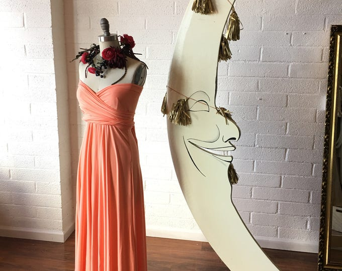 """Ready Made- Standard, 46"""" long- Coral Reef~ Last of Fabric- Maxi Octopus Convertible Infinity Wrap Dress~ Bridesmaids, Maternity"""