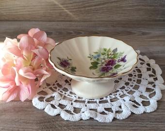 Vintage Porcelain compote bowl on pedestal by Sadler England / Purple Pansies pattern w/ Gold Gilding Candy Dish / Vintage trinket dish