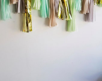 Mint Julep Tassel Garland, Mint and Grey Tassel Garland, Birthday Decor, Wedding Decor, Birthday Decor, Bridal Shower Decor, First Birthday
