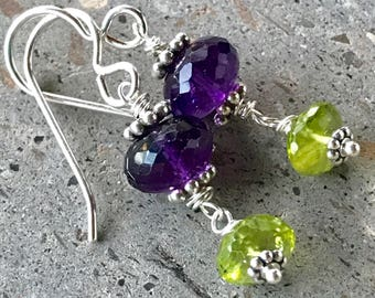 Amethyst Earrings, Peridot Earrings, February Birthstone Earrings, August Birthstone, Dangle Earrings, Fancy Drop Earrings, Purple & Green