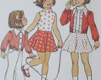 Vintage Simplicity Girls Cropped Jacket and Sleeveless Dress Sewing Pattern 6820 Size 4 UNCUT