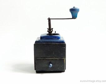 Vintage Coffee Grinder Wooden Mill Grinder Black Blue 60s