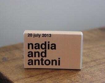 "125 Custom Matchbox Wedding Favors Matchboxes - ""Nadia Style"""