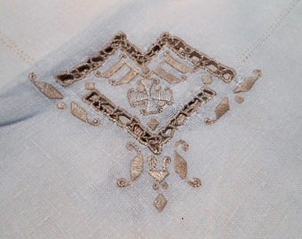 Vintage Madeira Linen Hand Embroidered Tablecloth, c. 1920