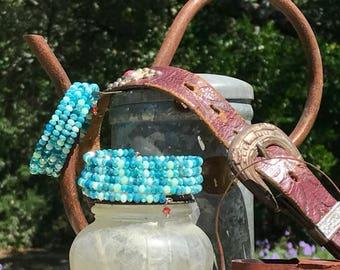 Apatite and Swarovski Wrap Bracelet