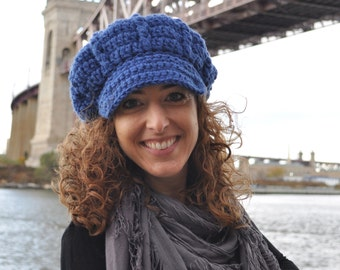 Royal Blue Newsboy Hat - Handmade Crocheted Hat with Brim - Women Accessories Dazzling Blue - Crochet Hats for Women